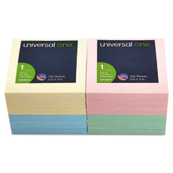 """Universal® Fan-Folded Pop-Up Notes, 3"""" x 3"""", Assorted Pastel Colors, 100 Sheets Per Pad, Pack Of 12 Pads"""