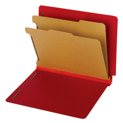 "Pendaflex® Bright Color End-Tab Classification Folders, 8 1/2"" x 11"", Letter Size, 60% Recycled, Dark Red, Pack Of 10 Folders"
