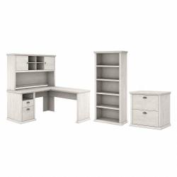 "Bush Furniture Yorktown 60""W L-Shaped Desk With Hutch, Lateral File Cabinet And 5-Shelf Bookcase, Linen White Oak, Standard Delivery"
