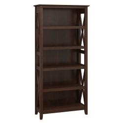 Bush Furniture Key West 5 Shelf Bookcase, Bing Cherry, Standard Delivery