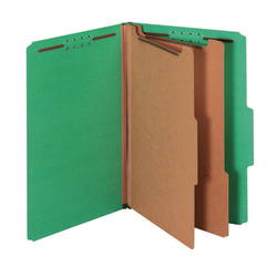 """Pendaflex® Standard Classification Folders With Fasteners, 8 1/2"""" x 14"""", Legal Size, 60% Recycled, Dark Green, Box Of 10"""