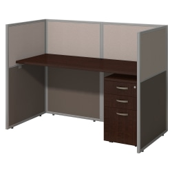 """Bush Business Furniture Easy Office Straight Desk Closed Office With 3-Drawer Mobile Pedestal, Fully Assembled, 44 15/16""""H x 61 1/16""""W x 30 9/16""""D, Mocha Cherry"""