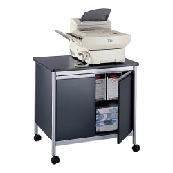 "Safco® Deluxe Machine Stand, 30 1/8""H x 32""W x 24 1/2""D, Black/Silver"