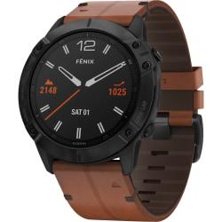 "Garmin fēnix 6X Sapphire GPS Watch - Wrist - 1.4"" - 280 x 280 - Touchscreen - Bluetooth - Wireless LAN - GPS - 1104 Hour - Round - 2.01"" - Black Case - Chestnut Band - Diamond-like Carbon (DLC)"