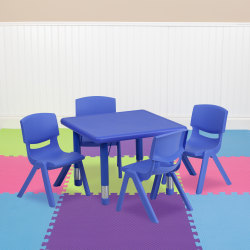 Flash Furniture 24'' Square Plastic Height-Adjustable Activity Table with 4 Chairs, Blue