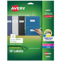 """Avery® Removable Laser/Inkjet ID Labels, 6460, Organization, 1"""" x 2 5/8"""", White, Pack Of 750"""