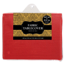 """Amscan Rectangular Fabric Table Covers, 60"""" x 80"""", Apple Red, Pack Of 2 Table Covers"""