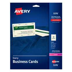"""Avery® Laser Microperforated Business Cards, Sure Feed™ Technology, 2"""" x 3 1/2"""", Ivory, Pack Of 250"""