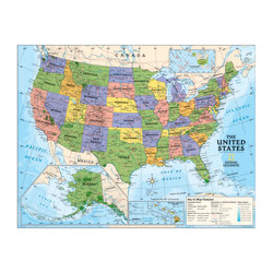 """National Geographic Maps Political Series USA Map, 51"""" x 40"""", Grades 4-12"""