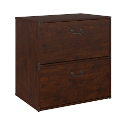 "kathy ireland® Home by Bush Business Furniture Ironworks 30""W Lateral 2-Drawer File Cabinet, Coastal Cherry, Standard Delivery"