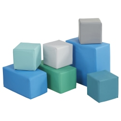 "ECR4Kids SoftZone® Big Blocks, 8""H x 8""W x 15 3/8""D, Contemporary, Pack Of 7"