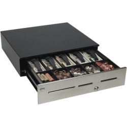 "MMF POS Cash Drawer - 4 Bill - 6 Coin - 3 Media Slot - 3 Lock PositionPowered USB, - Black - 4.6"" Height x 18"" Width x 16.7"" Depth"