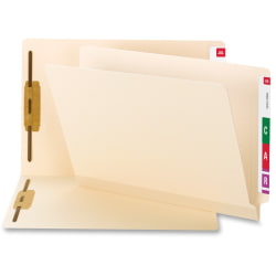 """Smead® TUFF® Poly Fastener File Folders With Shelf-Master®, 1/2"""" Tab Cut, Assorted Tab Position, Letter Size, Manila, Box Of 50"""