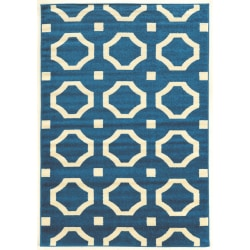 """Linon Honora Area Rug, 96""""H x 122""""W, Phin Blue/Ivory"""