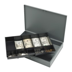 """Sparco All-Steel Key Lock Cash Box With Tray, 10 Compartments, 2"""" x 10 1/2"""" x 15"""", Gray"""