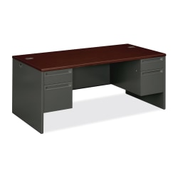 "HON® 38000 Series Double-Pedestal Desk, 72""W, Mahogany/Charcoal"