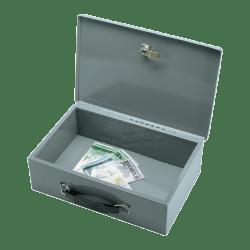 "Sparco All-Steel Key Lock Fire-Retardant Cash Box, 12 3/4"" x 8 1/4"" x 3 3/4"", Gray"