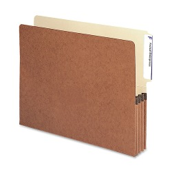 "Smead® Redrope End-Tab File Pockets, Letter Size, 3 1/2"" Expansion, 30% Recycled, Redrope, Box Of 10"