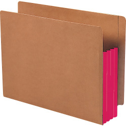 """Smead® Extra-Wide Expansion End-Tab File Pockets, 12""""W Body, Letter Size, 30% Recycled, Red, Box Of 10"""