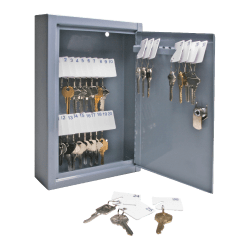 "Sparco 30-Key Locking Hook-Style All-Steel Key Cabinet, 12 1/8"" x 8"" x 2 5/8"", Gray"