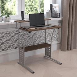 "Flash Furniture 28""W Computer Desk With Storage Shelves, Rustic Walnut"