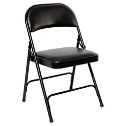 Alera Padded Steel Folding Chairs, Graphite, Set Of 4 Chairs