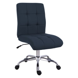 Brenton Studio® Dexie Quilted Fabric Low-Back Task Chair, Navy