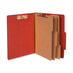 "ACCO® Durable Pressboard Classification Folders, Letter Size, 4"" Expansion, 3 Partitions, 60% Recycled, Earth Red, Box Of 10"