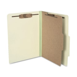 """ACCO® Durable Pressboard Classification Folders, Letter Size, 2"""" Expansion, 1 Partition, 60% Recycled, Leaf Green, Box Of 10"""