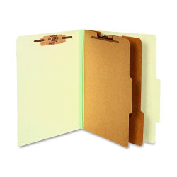 """ACCO® Durable Pressboard Classification Folders, Letter Size, 3"""" Expansion, 2 Partitions, 60% Recycled, Leaf Green, Box Of 10"""