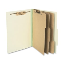 """ACCO® Durable Pressboard Classification Folders, Letter Size, 4"""" Expansion, 3 Partitions, 60% Recycled, Leaf Green, Box Of 10"""