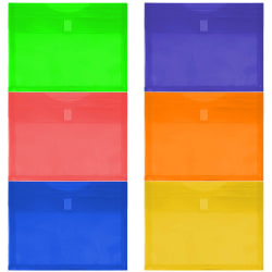"""JAM Paper® Plastic Envelopes With Hook and Loop Closure, 9-3/4"""" x 13"""", Assorted Colors, Pack Of 6 Envelopes"""
