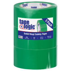 """BOX Packaging Solid Vinyl Safety Tape, 3"""" Core, 2"""" x 36 Yd., Green, Case Of 3"""