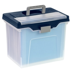 "Office Depot® Brand Mobile File Box, Large, Letter Size, 11-5/8""H x 13-13/6""W x 10""D, Clear/Blue"