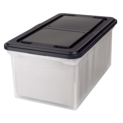 "Office Depot® Brand Stackable File Tote Box, Letter Size, 10-7/10""H x 22-4/5""D x 13-7/10""W, Clear/Black"