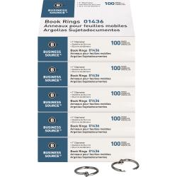"""Business Source Standard Book Rings - 1"""" Diameter - Silver - Nickel Plated - 500 / Bundle"""