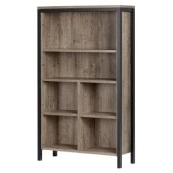 South Shore Munich 6-Shelf Bookcase With Cubes, Rustic Oak