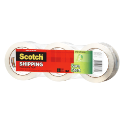 "Scotch® Sure Start Shipping Tape, 1-7/8"" x 43.7 Yd., Clear, Pack Of 3 Rolls"