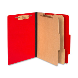 ACCO® Color Life Presstex Top-Tab Folders, Letter Size, 30% Recycled, Red, Box Of 10