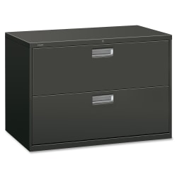 """HON® 600 42""""W Lateral 2-Drawer Standard File Cabinet With Lock, Metal, Charcoal"""