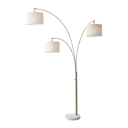 "Adesso® Bowery 3-Arm Arc Floor Lamp, 83""H, Off-White Shade/White Base"