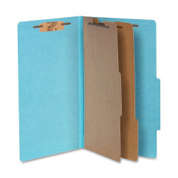 """ACCO® Durable Pressboard Classification Folders, Legal Size, 3"""" Expansion, 2 Partitions, 60% Recycled, Steel Blue, Box Of 10"""