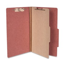 """ACCO® Durable Pressboard Classification Folders, Legal Size, 2"""" Expansion, 1 Partition, 60% Recycled, Earth Red, Box Of 10"""