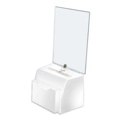 "Azar Displays Medium Molded Lottery Box With Pocket, 17""H x 5-1/2""W x 7-3/4""D, White"