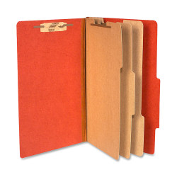 """ACCO® Durable Pressboard Classification Folders, Legal Size, 4"""" Expansion, 3 Partitions, 60% Recycled, Earth Red, Box Of 10"""