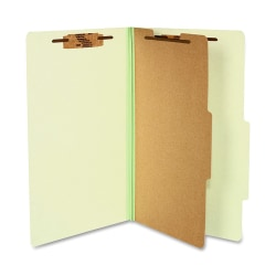 "ACCO® Durable Pressboard Classification Folders, Legal Size, 2"" Expansion, 1 Partition, 60% Recycled, Leaf Green, Box Of 10"