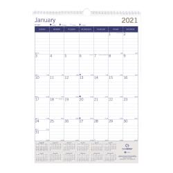"Blueline® Duraglobe™ Monthly Wall Calendar, 12"" x 17"", FSC® Certified, Blue/Grey, 12-month January to December 2021"