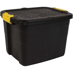 """CEP 42-liter Stackable Heavy-duty Storage Box - External Dimensions: 19.7"""" Length x 15.8"""" Width x 13.8"""" Height - 11.10 gal - Padlock Closure - Heavy Duty - Stackable - Plastic - Black, Yellow"""