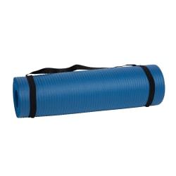 """Mind Reader NBR Yoga Mat With Strap, 1/2""""H x 24""""W x 72""""D, Blue"""
