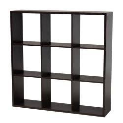 "Baxton Studio 9-Cube Storage Shelf, 47-3/8""H x 47-3/16""W x 11-7/16""D, Dark Brown"